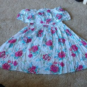 Large Strapless Floral Dress
